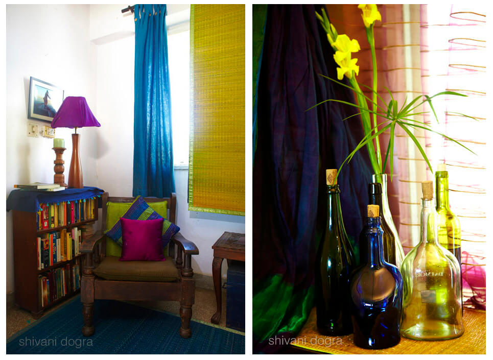 Sitting area, glass bottles, simple flower arrangements